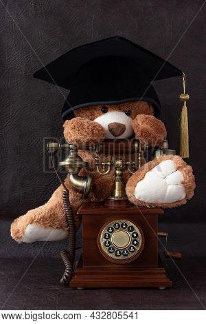 Funny Brown Teddy Bear With Academic Cap Sits On Vintage Telephone In Wooden Case On Dark Leather So