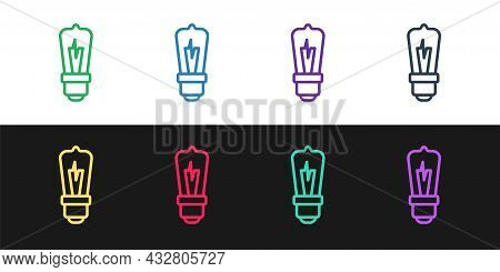 Set Line Light Bulb With Concept Of Idea Icon Isolated On Black And White Background. Energy And Ide
