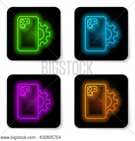 Glowing Neon Line Phone Repair Service Icon Isolated On White Background. Adjusting, Service, Settin