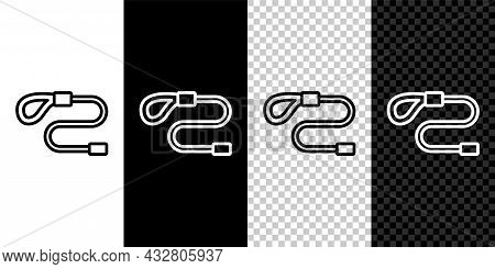 Set Line Retractable Cord Leash With Carabiner Icon Isolated On Black And White, Transparent Backgro