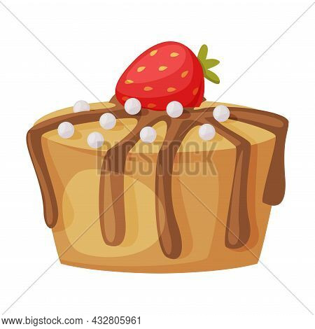 Ice Cream Chocolate Top With Sprinkle And Strawberry Vector Illustration