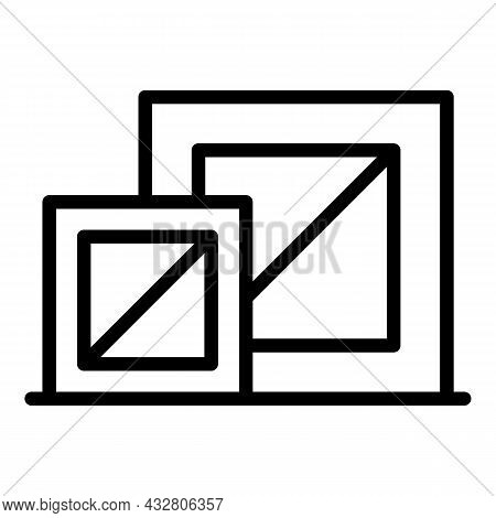 Factory Boxes Icon Outline Vector. Warehouse Storage. Product Stock