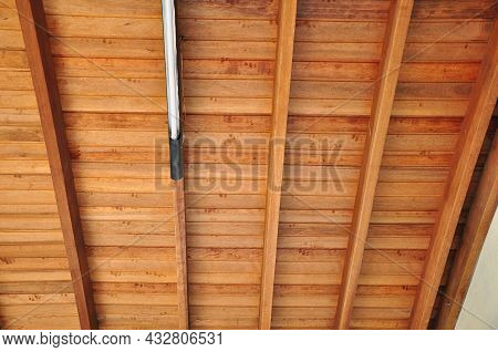 Wood. Wooden Ceiling With Led Light, Beams And Rafters In Symmetry, In Natural Wood Color, Brazil, S
