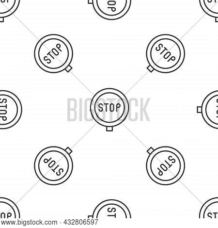 Grey Line Stop Sign Icon Isolated Seamless Pattern On White Background. Traffic Regulatory Warning S