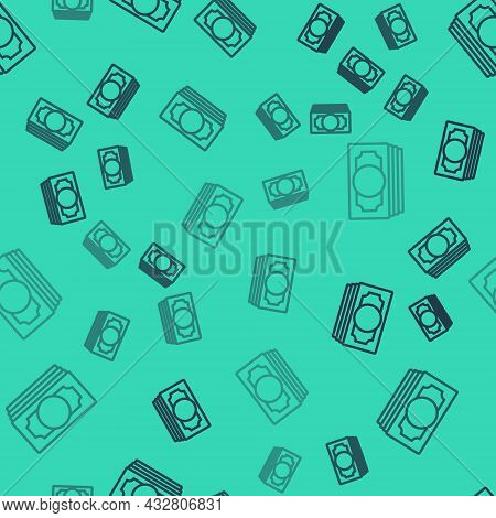 Black Line Stacks Paper Money Cash Icon Isolated Seamless Pattern On Green Background. Money Banknot