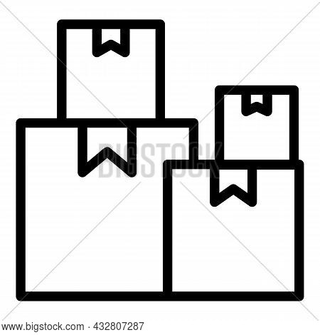 Factory Boxes Icon Outline Vector. Distribution Storage. Warehouse Parcel