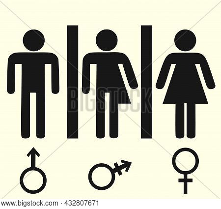 Gender Symbolic Sign For Visiting A Public Toilet