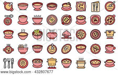 Cream Soup Icons Set Outline Vector. Meal Soup. Cream Bowl