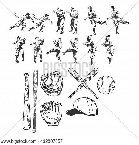 Baseball Vector Set, Sport Illustration, Retro Art Set