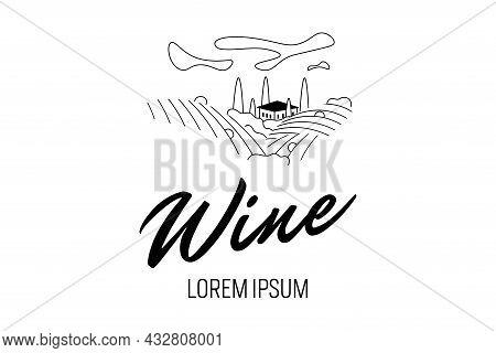 Vineyard Wine Grape Hill Farm Logo Concept. Bottle Label Romantic Rural Landscape In Sunny Day With