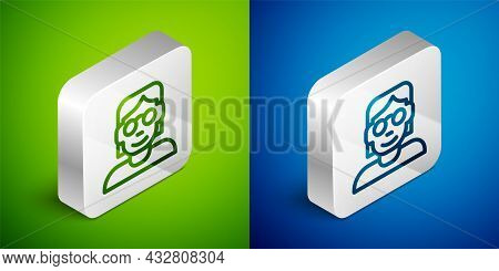 Isometric Line Hacker Or Coder Icon Isolated On Green And Blue Background. Programmer Developer Work