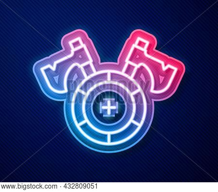 Glowing Neon Line Medieval Shield With Crossed Axes Icon Isolated On Blue Background. Battle Axe, Ex