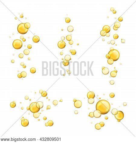 Bubbles Oil. Shiny Realistic Drops, Cosmetic Gold Pill Capsule Collagen Serum. Oily Vitamin Essence