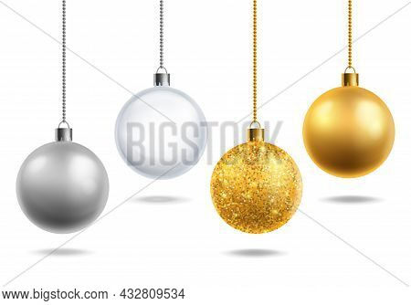 Christmas Tree Toys Realistic. Transparent Glass, Silver And Golden With Glitter Balls Hang. Round X