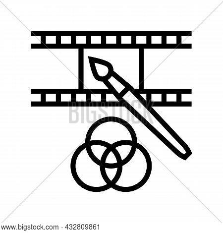 Video Editor Line Icon Vector. Video Editor Sign. Isolated Contour Symbol Black Illustration