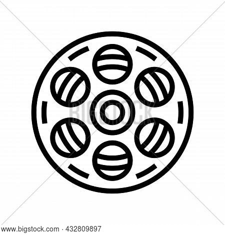 Film Bobbin Line Icon Vector. Film Bobbin Sign. Isolated Contour Symbol Black Illustration
