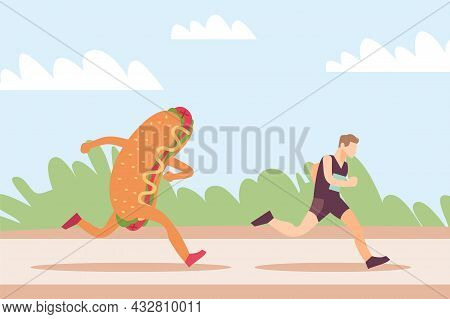 Running Away From Junk Food. Hot Dog Mascot Stalking Sportsman. Athletic Man Jogging For Slimming. W