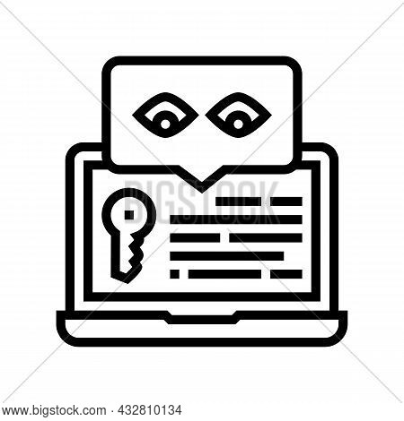 Key Security System Line Icon Vector. Key Security System Sign. Isolated Contour Symbol Black Illust