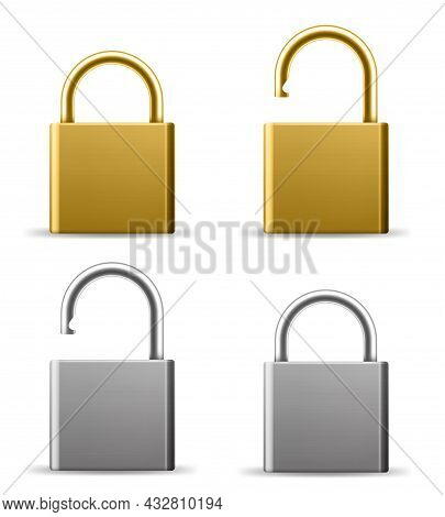 Realistic Padlocks. Gold And Silver Lock In Open And Closed State. Metal Latches Blank Templates. Ho