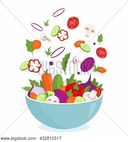 Vegetables Fly Bowl. Salad Preparation. Mixing Cooking Ingredients. Blending Different Food. Cutting