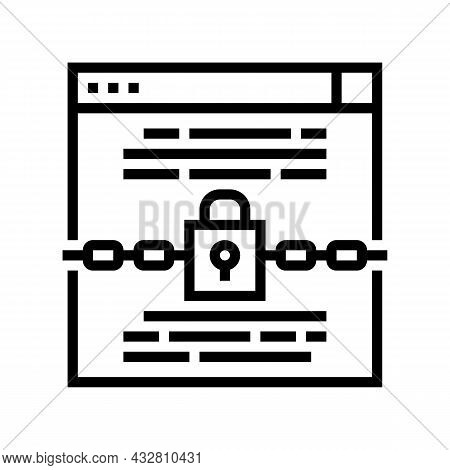 Padlock Security Technology Tool Line Icon Vector. Padlock Security Technology Tool Sign. Isolated C