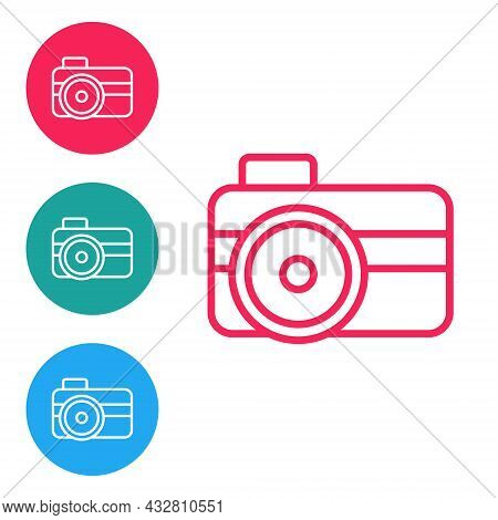 Red Line Photo Camera For Diver Icon Isolated On White Background. Foto Camera Icon. Diving Underwat