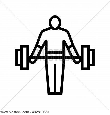Athlete Exercising With Weight Line Icon Vector. Athlete Exercising With Weight Sign. Isolated Conto