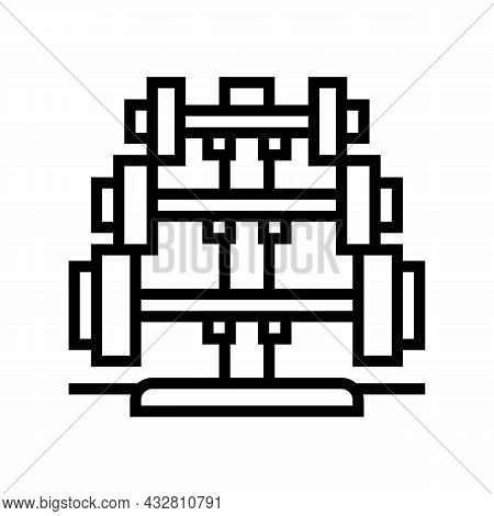 Barbell Rack Line Icon Vector. Barbell Rack Sign. Isolated Contour Symbol Black Illustration