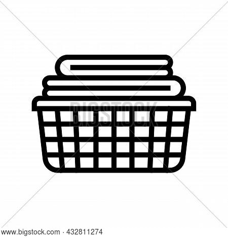 Washed Clean Fabric Clothes In Basket Line Icon Vector. Washed Clean Fabric Clothes In Basket Sign.