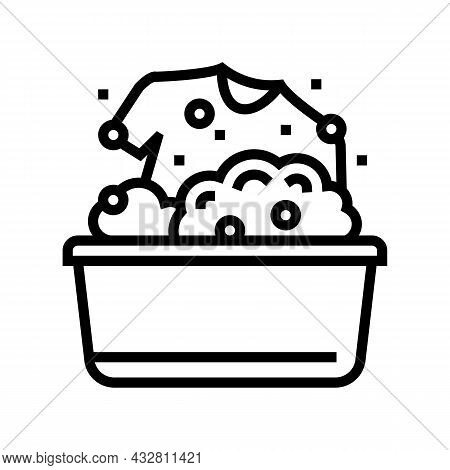 Washing Clothing In Basin Line Icon Vector. Washing Clothing In Basin Sign. Isolated Contour Symbol