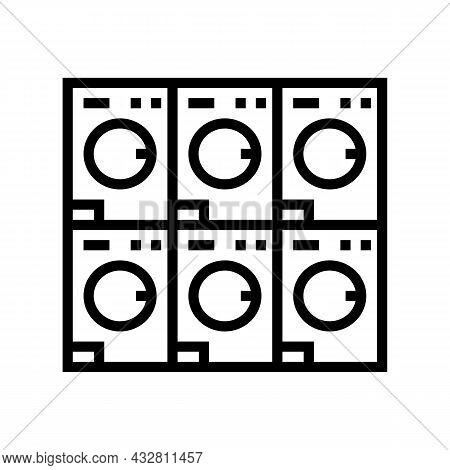 Laundromat Equipment For Washing Clothes Line Icon Vector. Laundromat Equipment For Washing Clothes