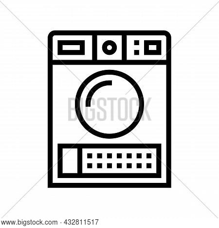 Dry Electronic Machine Line Icon Vector. Dry Electronic Machine Sign. Isolated Contour Symbol Black