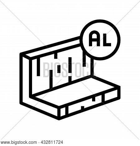 Aluminum Metal Profile Line Icon Vector. Aluminum Metal Profile Sign. Isolated Contour Symbol Black