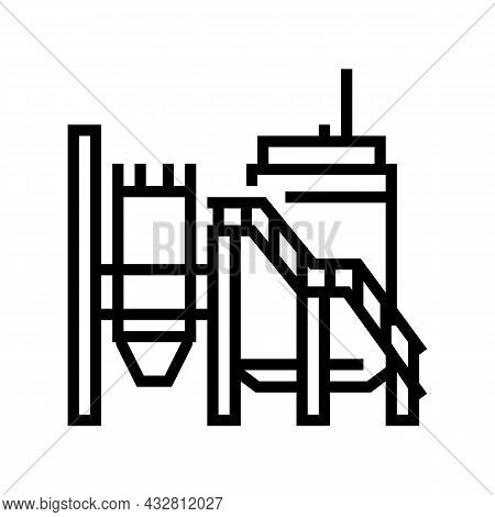 Mineral Processing Plant Line Icon Vector. Mineral Processing Plant Sign. Isolated Contour Symbol Bl