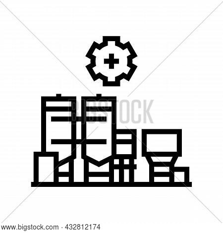 Manufacture Factory Line Icon Vector. Manufacture Factory Sign. Isolated Contour Symbol Black Illust