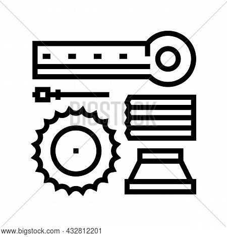 Materials Handling And Crusher Spare Parts Line Icon Vector. Materials Handling And Crusher Spare Pa