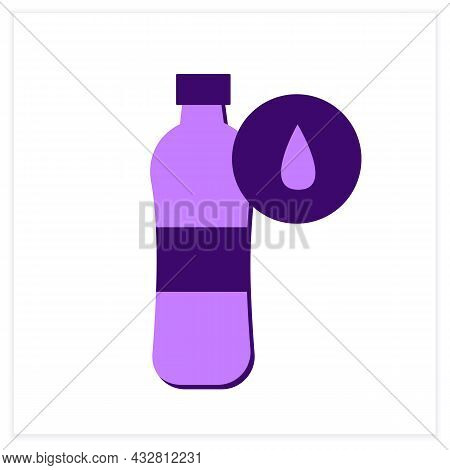 Water Bottle Flat Icon. Sport Or Performance Drink With Liquid. Concept Of Hydration And Water Balan