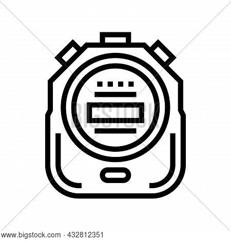 Stopwatch Device Line Icon Vector. Stopwatch Device Sign. Isolated Contour Symbol Black Illustration
