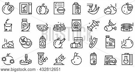 Food Contamination Icons Set Outline Vector. Spoiled Rotten. Virus Touch