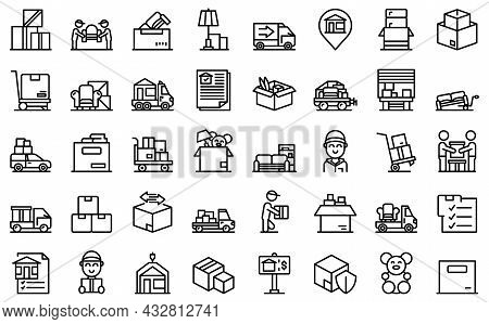 Moving House Services Icons Set Outline Vector. Storehouse Box. Cargo Move
