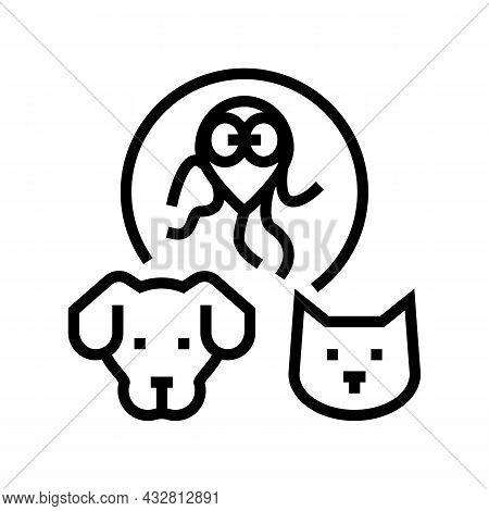 Giardiasis Pet Disease Line Icon Vector. Giardiasis Pet Disease Sign. Isolated Contour Symbol Black