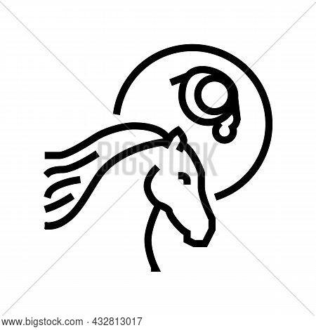 Leptospirosis Horse Line Icon Vector. Leptospirosis Horse Sign. Isolated Contour Symbol Black Illust