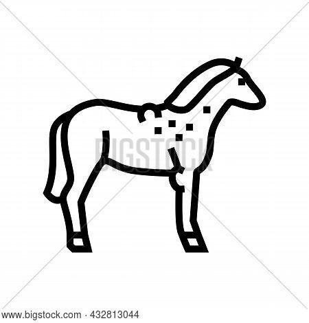 Brucellosis Horse Line Icon Vector. Brucellosis Horse Sign. Isolated Contour Symbol Black Illustrati