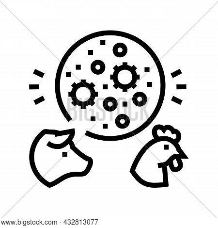 Flu Domestic Animal Line Icon Vector. Flu Domestic Animal Sign. Isolated Contour Symbol Black Illust
