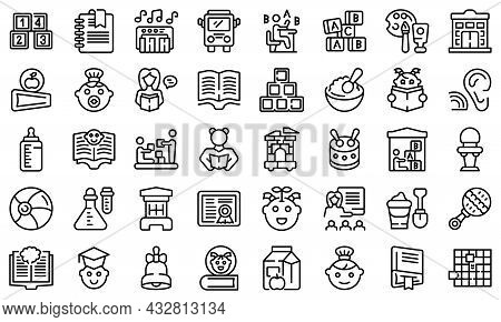 Early Educations Icons Set Outline Vector. Baby Learn. Children School