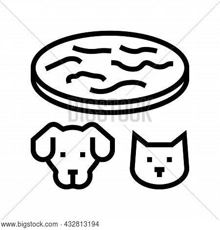 Tapeworm Animal Disease Line Icon Vector. Tapeworm Animal Disease Sign. Isolated Contour Symbol Blac