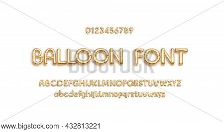Inflated Gold Foil Balloon Font With Alphabet And Numbers, Isolated, 3d Rendering. Helium Lowercase,