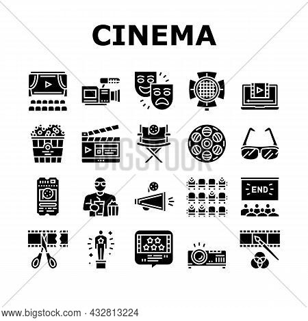 Cinema Watch Movie Entertainment Icons Set Vector. Booking Ticket And Buying Popcorn With Drink For
