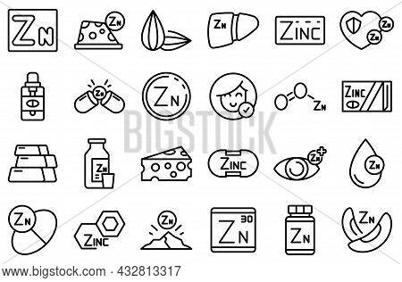 Zinc Icons Set Outline Vector. Mineral Supplement. Vitamin Food