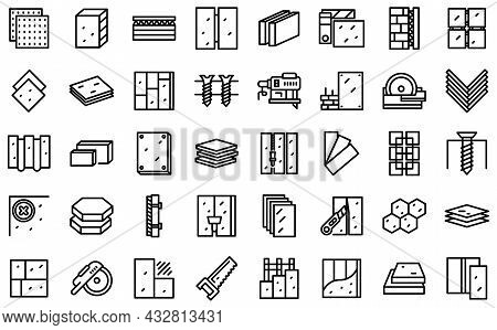 Drywall Icons Set Outline Vector. House Plasterboard. Brush Construction